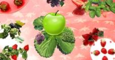 水果与食品之草莓葡萄图片
