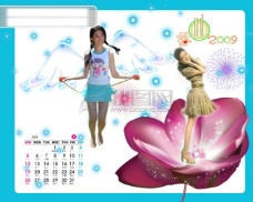 2009年日历模板2009年台历psd模板放飞青春恋曲2009全套共13张含封面