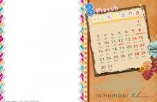 09中文台历相册模板单月竖版3月图片