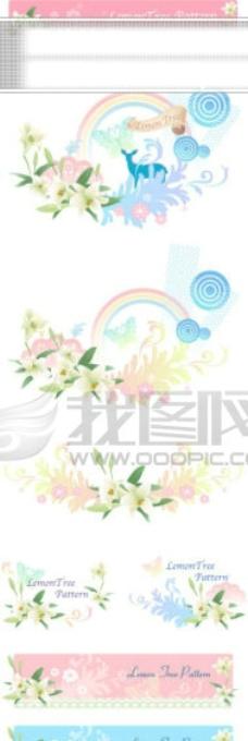 ai矢量图 花边 花朵 树叶 线条 镜框 水彩花 底纹