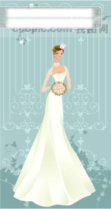 40P之31卡通系列唯美漂亮的婚纱新娘矢量素材sxzj