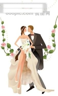 卡通系列唯美漂亮的新娘矢量素材sxzj