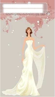 40P之29卡通系列唯美漂亮的婚纱新娘矢量素材sxzj