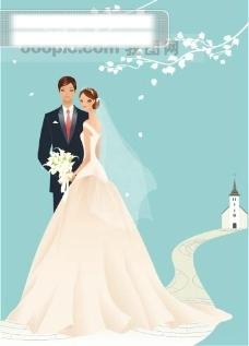 40P之40卡通系列唯美漂亮的婚纱新娘矢量素材sxzj