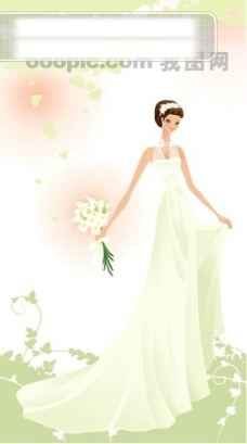 40P之33卡通系列唯美漂亮的婚纱新娘矢量素材sxzj