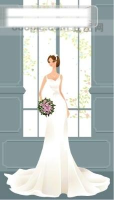 40P之11卡通系列唯美漂亮的婚纱新娘矢量素材sxzj