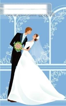 40P之18卡通系列唯美漂亮的婚纱新娘矢量素材sxzj