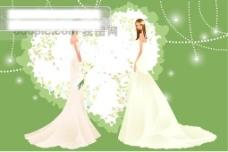 40P之14卡通系列唯美漂亮的婚纱新娘矢量素材sxzj