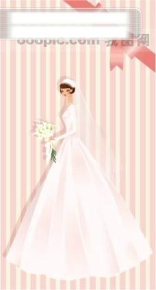 40P之20卡通系列唯美漂亮的婚纱新娘矢量素材sxzj