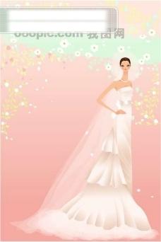 40P之26卡通系列唯美漂亮的婚纱新娘矢量素材sxzj