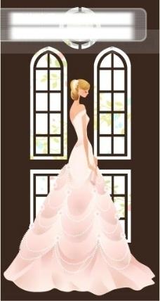 40P之7卡通系列唯美漂亮的婚纱新娘矢量素材sxzj