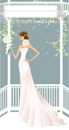 40P之21卡通系列唯美漂亮的婚纱新娘矢量素材sxzj