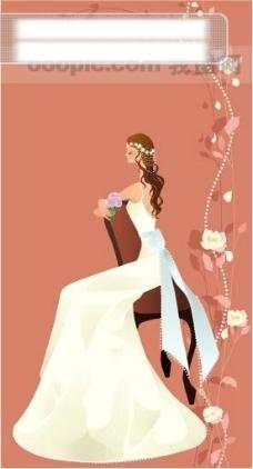 40P之23卡通系列唯美漂亮的婚纱新娘矢量素材sxzj