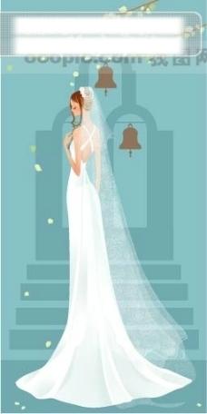 40P之8卡通系列唯美漂亮的婚纱新娘矢量素材sxzj