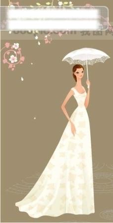 40P之17卡通系列唯美漂亮的婚纱新娘矢量素材sxzj