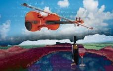 小提琴红酒海报图片