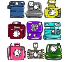 原創手繪涂鴉彩色不同款式分層的照相機圖片