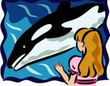 鯨魚女孩海洋矢量圖片