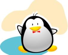 揮手企鵝矢量圖片