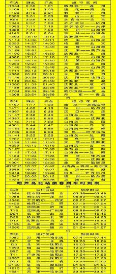 葫芦岛旅客列车时刻表图片