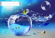 蓝色梦幻创意设计PSD分层模板 金罐 水珠 蜗牛 创意设计