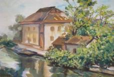 油画房子图片