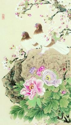 牡丹双鸽图片